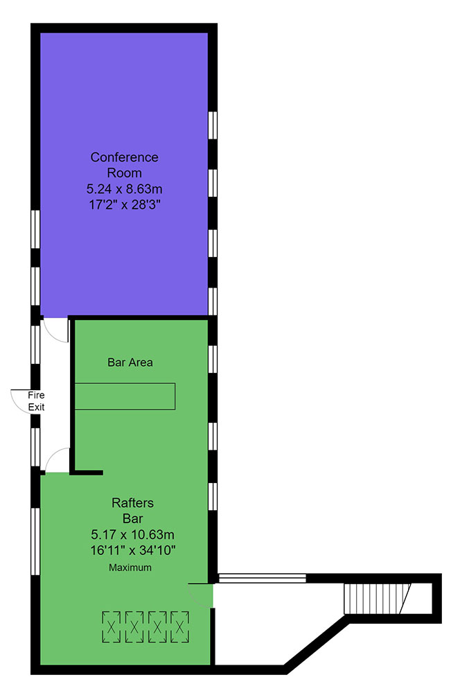 Rafters bar and Conference room floor plan