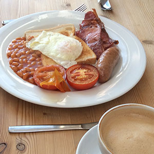 Fry up breakfast and coffee